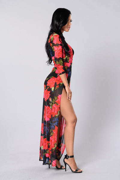 Danae Dress - Black/Red