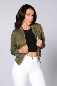 Good Sport Bomber Jacket - Olive/Black