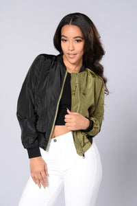 Two Faced Bomber Jacket - Black/Olive