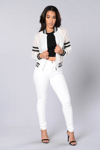 Dream Team Bomber Jacket - White/Black