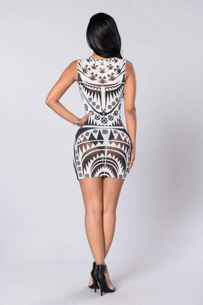 Tribal Revival Dress - Black/White