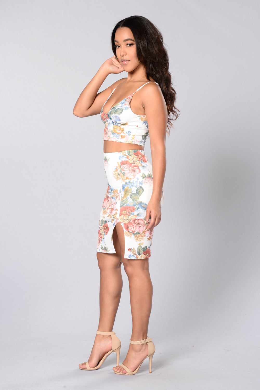 Floral Glamour Skirt - Ivory