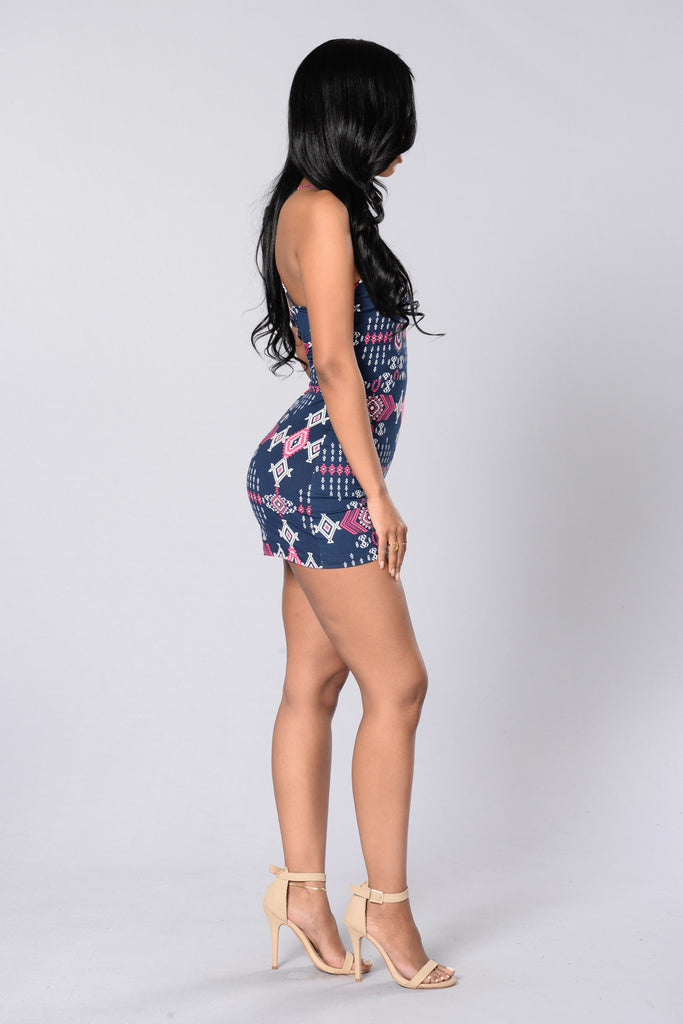 Where The Wildest Things Are Romper - Navy/Pink
