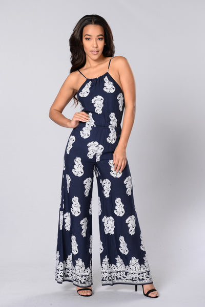 Greek Isles Jumpsuit - Navy