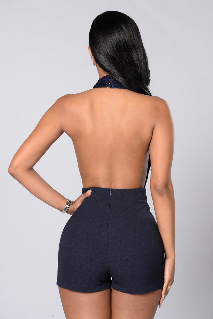 It's Showtime Romper - Navy