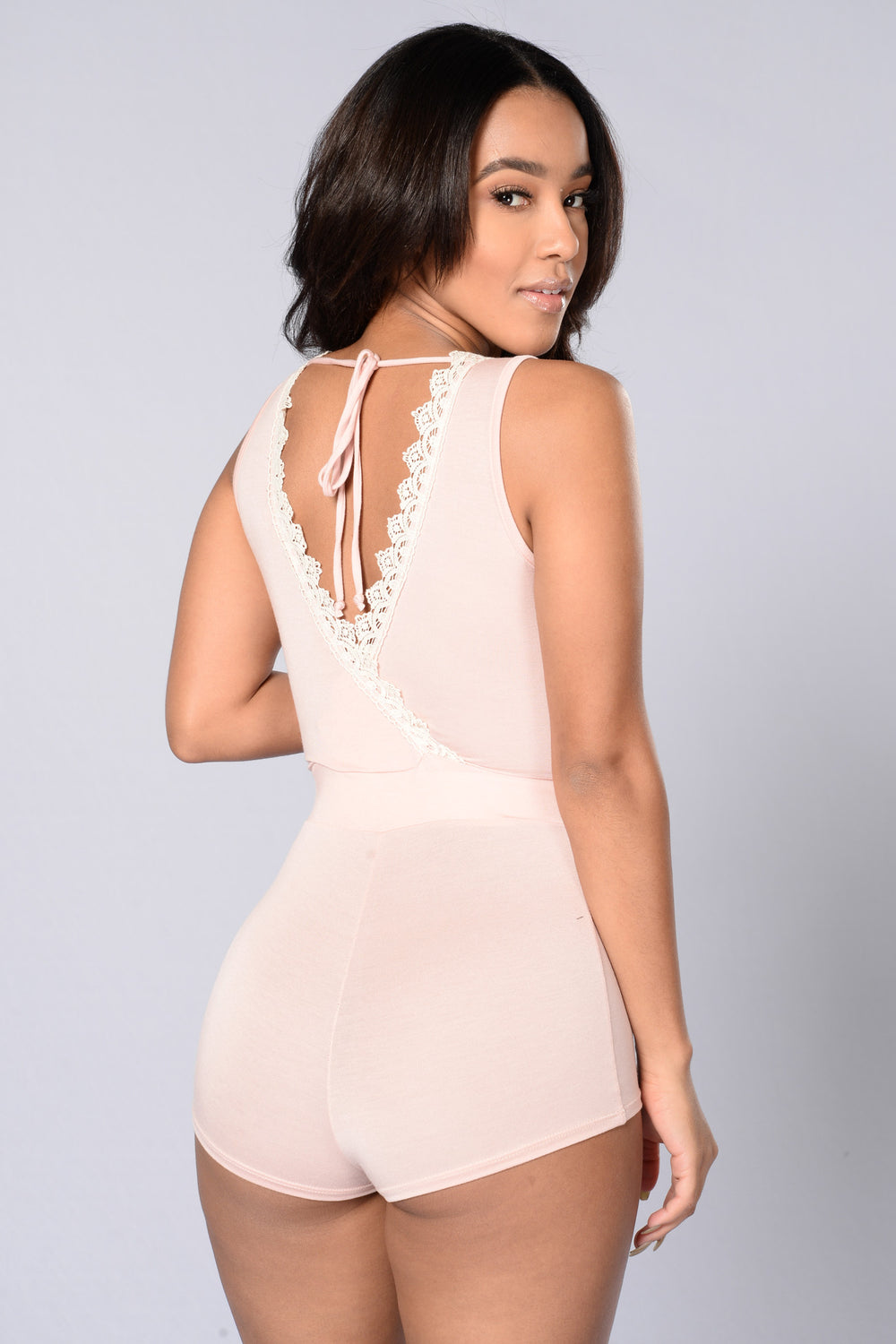 Holla Back Romper - Blush