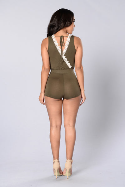 Holla Back Romper - Olive