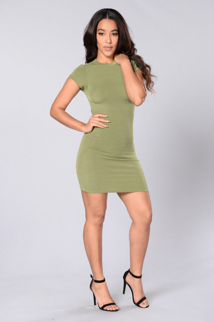 Friend Zoned Dress - Olive