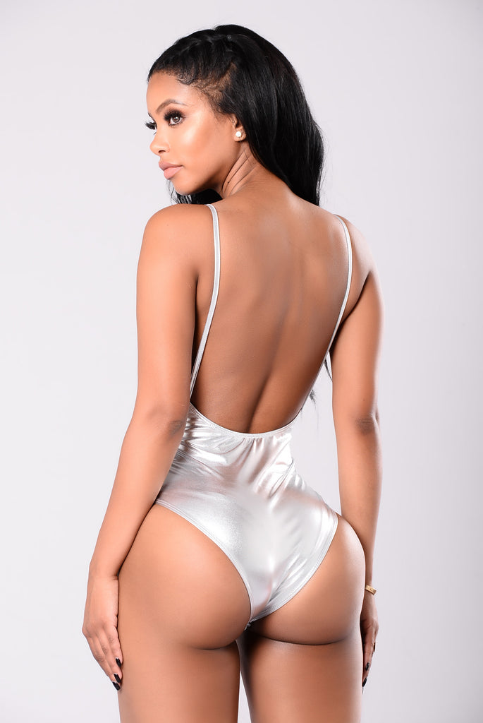 Foiled 1 Piece Swimsuit - Silver