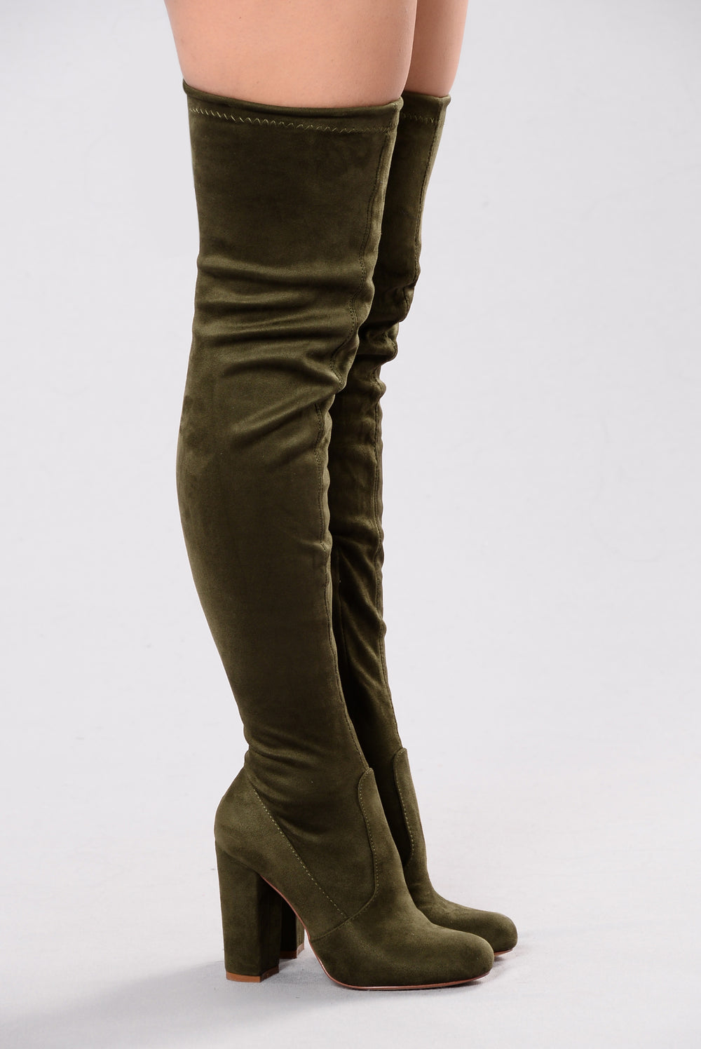 Pretty In Thigh High Boots - Olive