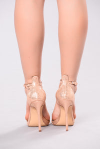 T Strap Stiletto Heel - Rose Gold