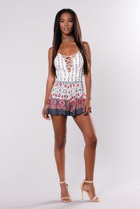 Road Run Romper - Ivory Print Angle 2