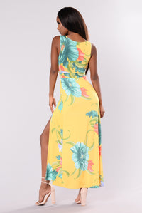 Rania Floral Maxi Dress - Yellow