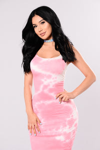 Close To You Tie Dye Dress - Pink