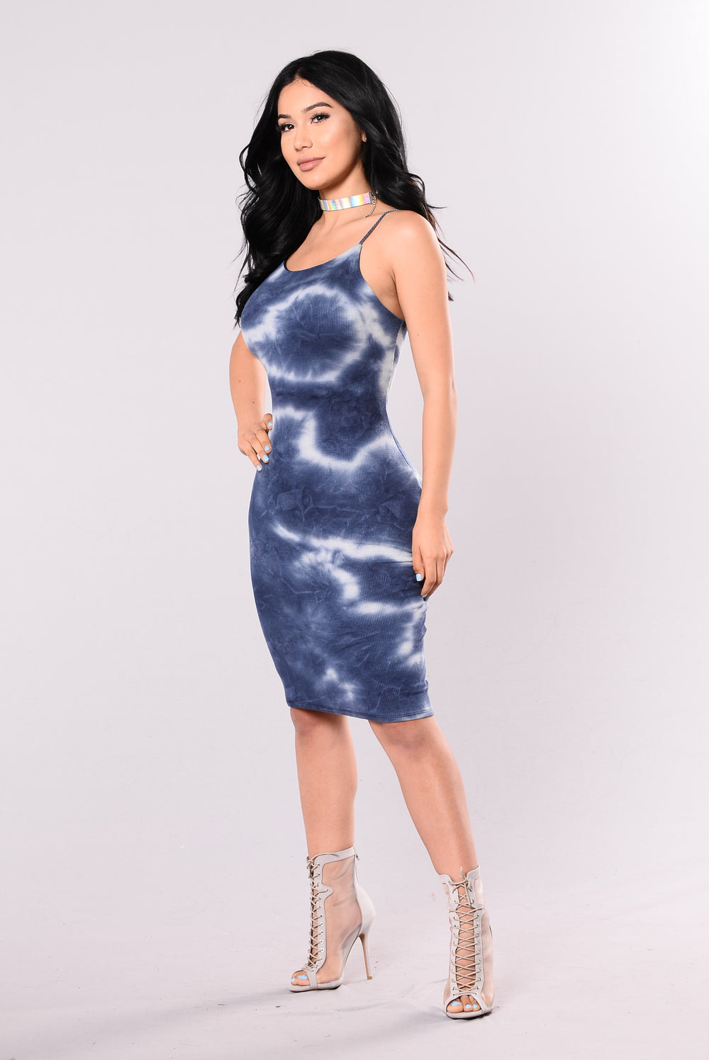Close To You Tie Dye Dress - Navy