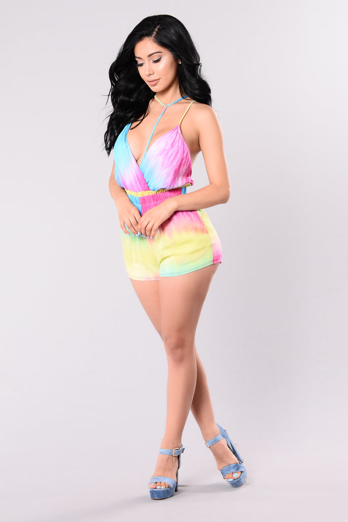 Pieces In My Life Romper - Rainbow