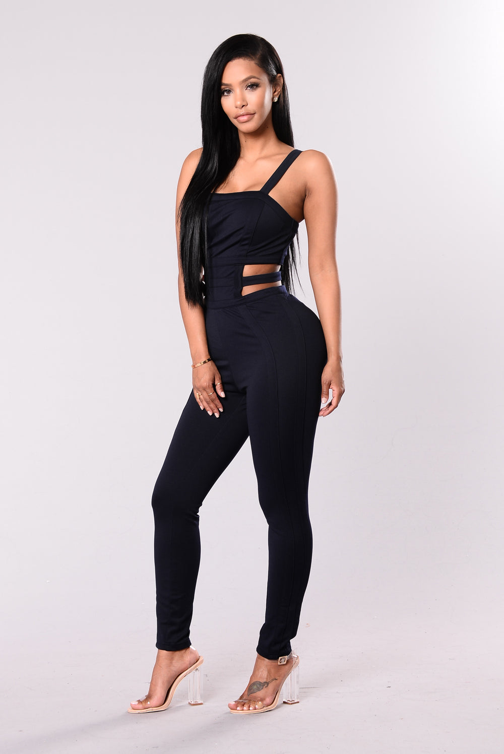 Pay Attention Jumpsuit - Navy