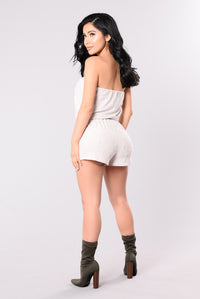 Bring Me Up To Speed Romper - Off White