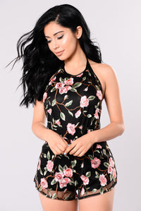 Vines And Climbers Romper - Black
