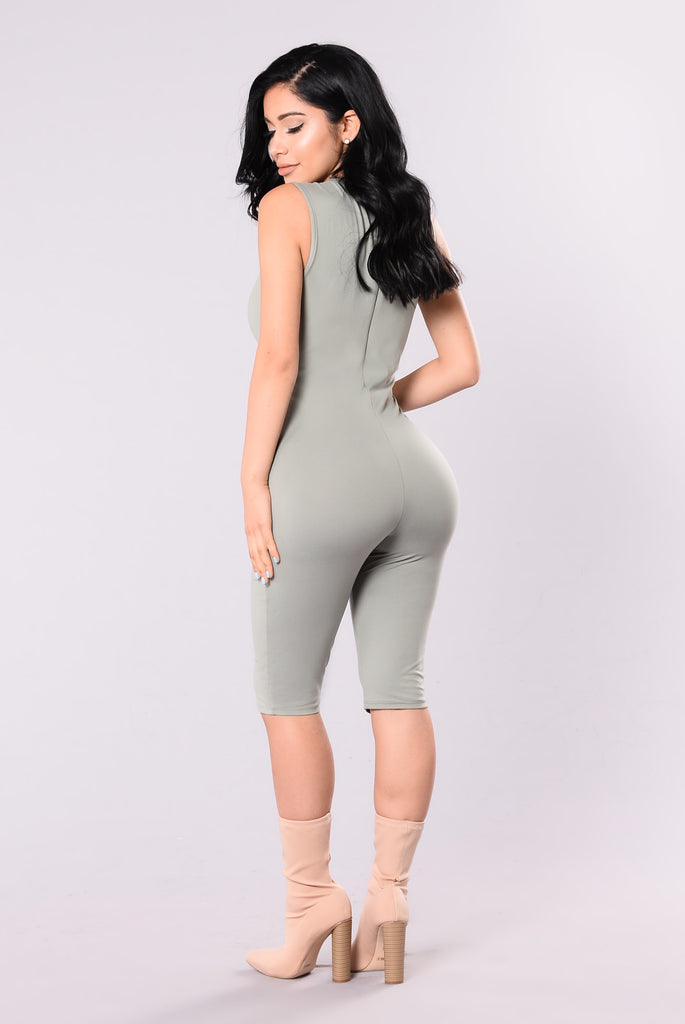 Jordy Lace Up Jumpsuit - Sage