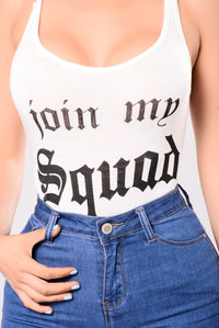 Join My Squad Bodysuit - White