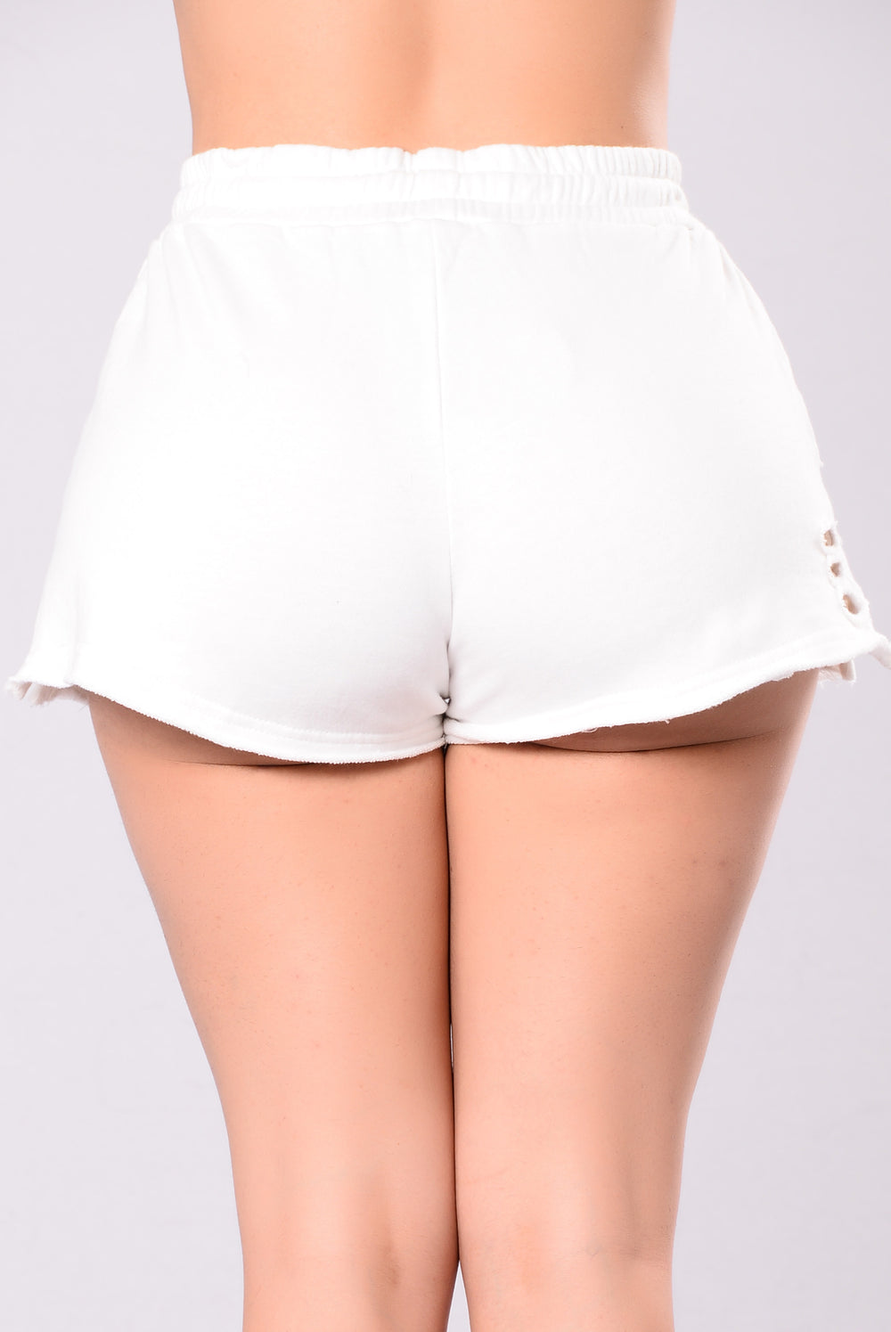 Doing Too Much Distressed Shorts - White