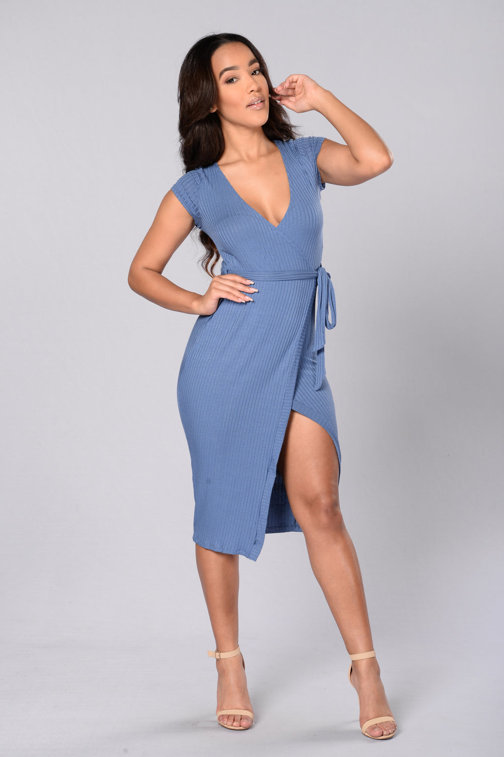 Wrap Game Dress - Denim
