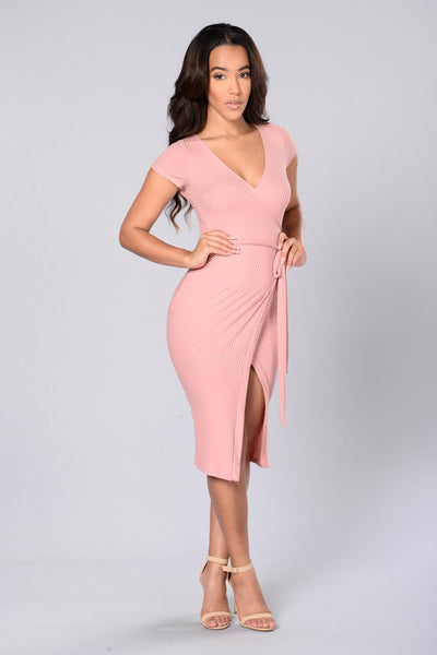 Wrap Game Dress - Mauve