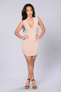 The Night is Still Young Dress - Nude