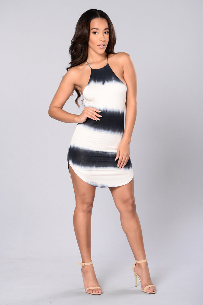 Millennial Dress - Navy/White