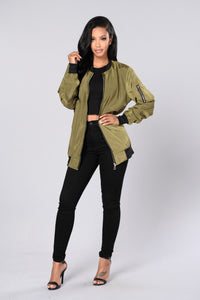 Sky's The Limit Bomber Jacket - Olive Angle 4