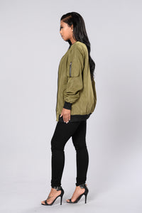 Sky's The Limit Bomber Jacket - Olive Angle 6