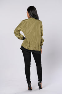 Sky's The Limit Bomber Jacket - Olive Angle 5