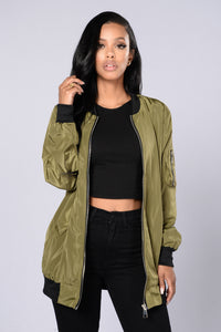 Sky's The Limit Bomber Jacket - Olive Angle 1