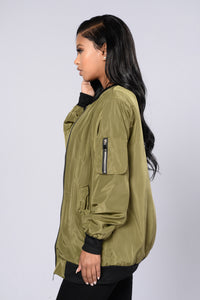 Sky's The Limit Bomber Jacket - Olive Angle 2