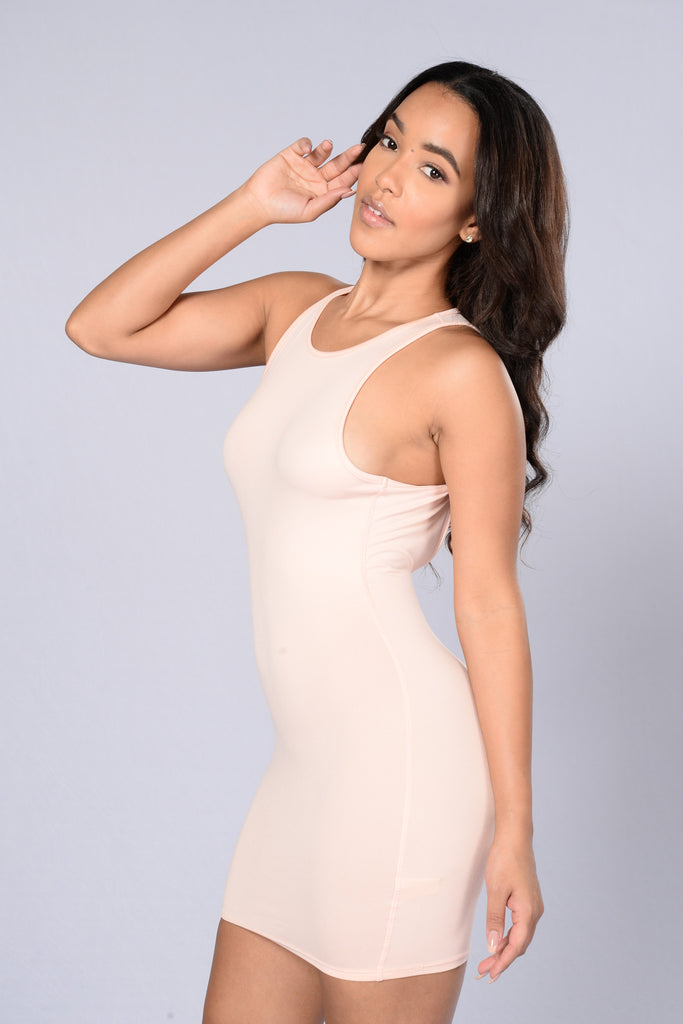Twist and Snap Fitted Dress - Blush