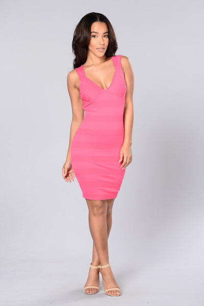 Rosy Disposition Dress - Fuchsia
