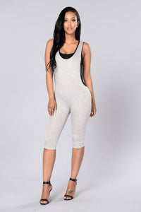 Skip Out Jumpsuit - Heather Grey Angle 1