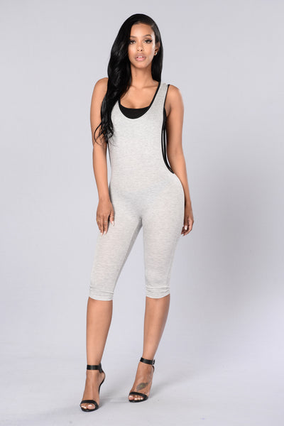 Skip Out Jumpsuit - Heather Grey