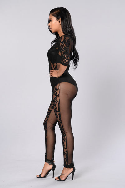 Scandalous Lace Jumpsuit - Black