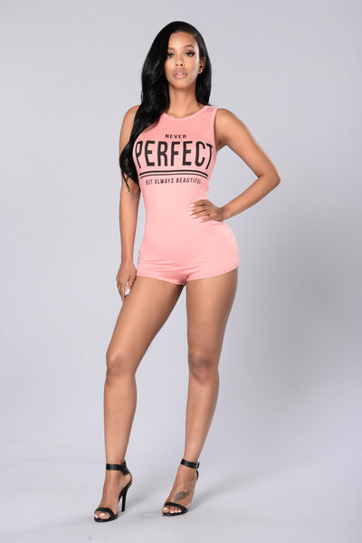Never Perfect Romper - Blush