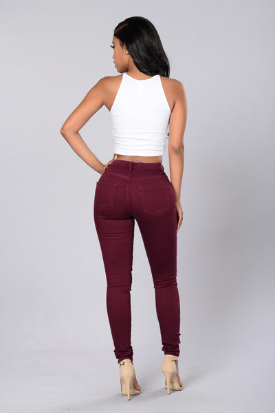 Rip Me Open Jeans - Burgundy