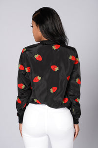 Strawberry Fields Forever Jacket - Black Angle 2