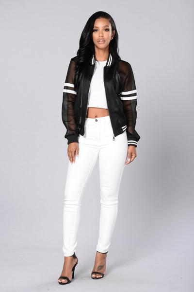 Dream Team Bomber Jacket - Black/White