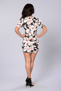Bloom or Bust Dress - Black Floral