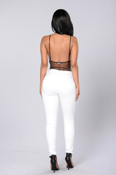 The Girl Next Door Lace Bodysuit - Black