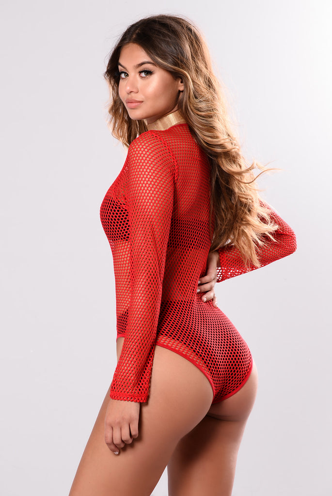 Brayden Fishnet Bodysuit - Red