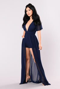 This Overlay Don't Play Dress - Navy