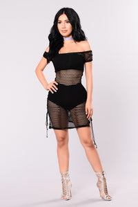 Water World Fishnet Dress - Black