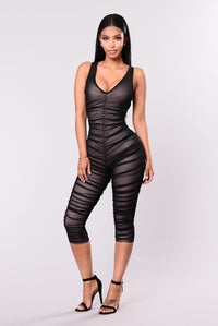Make Me Fancy Jumpsuit - Black/Pink